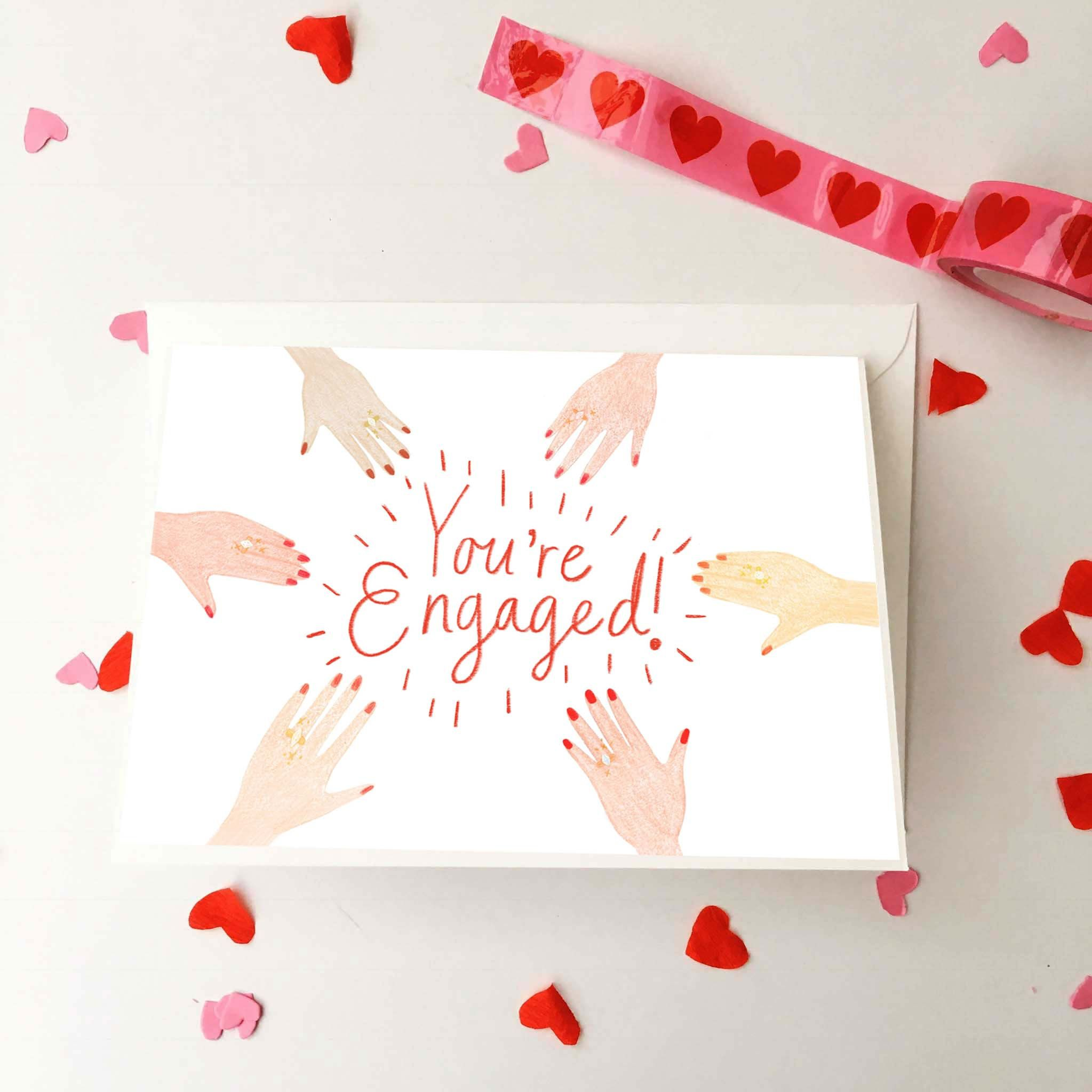 You\'re Engaged Illustrated Greeting Card, Engagement Ring Hand ...