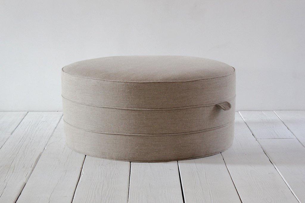 Nickey Kehoe Round Hassock Ottoman Upholstered Ottoman Nickey Kehoe