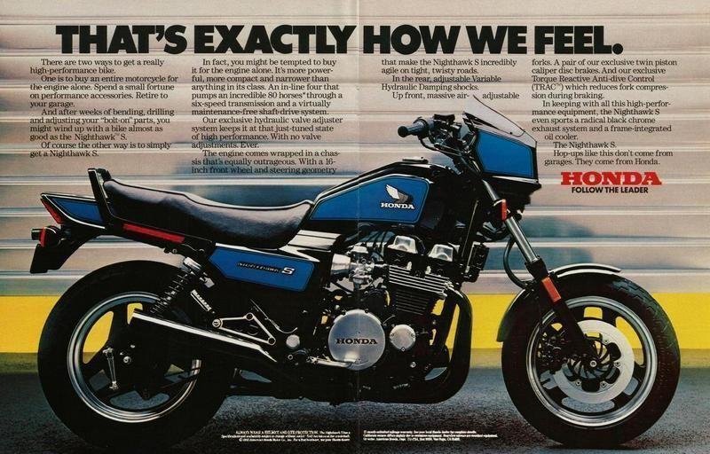 Honda Cb 750s Nighthawk Ad 1984 Honda Nighthawk Honda Classic Motorcycles