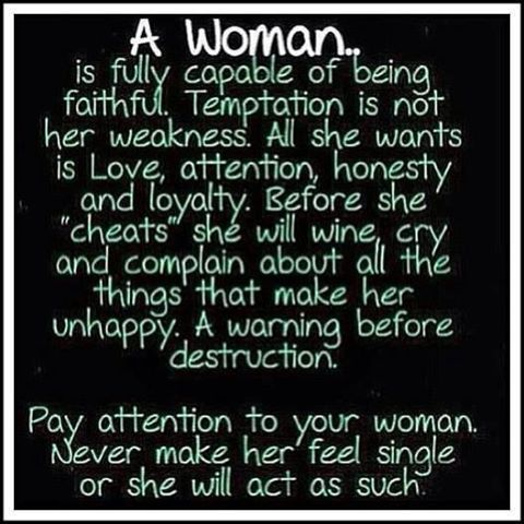 A Woman Is Fully Capablr Of Being Faithful Temptation Is Not Her