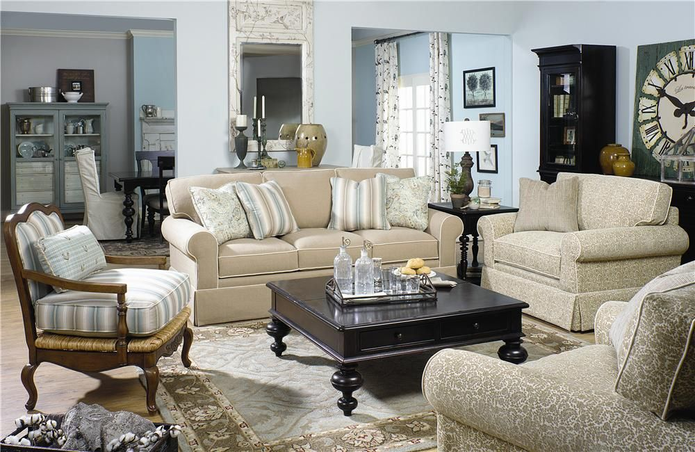 Wonderful Paula Deen By Universal Paula Deen Home Sofa With Rolled Arms And Skirt   Fashion  Furniture   Sofa Fresno,