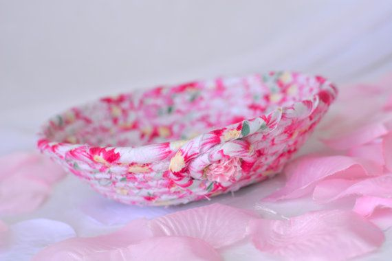 I handmade this cute Spring Floral Basket ....Handmade by me.. Pretty Pink Bowl Pink Ring Holder by WexfordTreasures