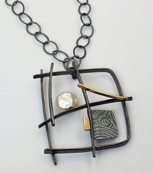 Graffiti Necklace: Sydney Lynch: Gold, Silver & Pearl Necklace | Artful Home