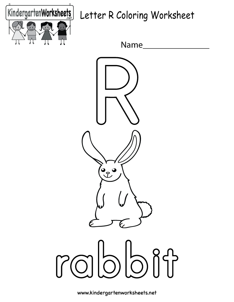 This is a letter R coloring worksheet. Kids will have fun