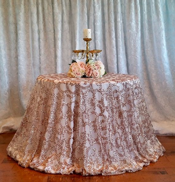 """120/"""" Round Sparkly Rose Gold Sequin Table Cloth Sequin Table Cloth Cake Sequin"""