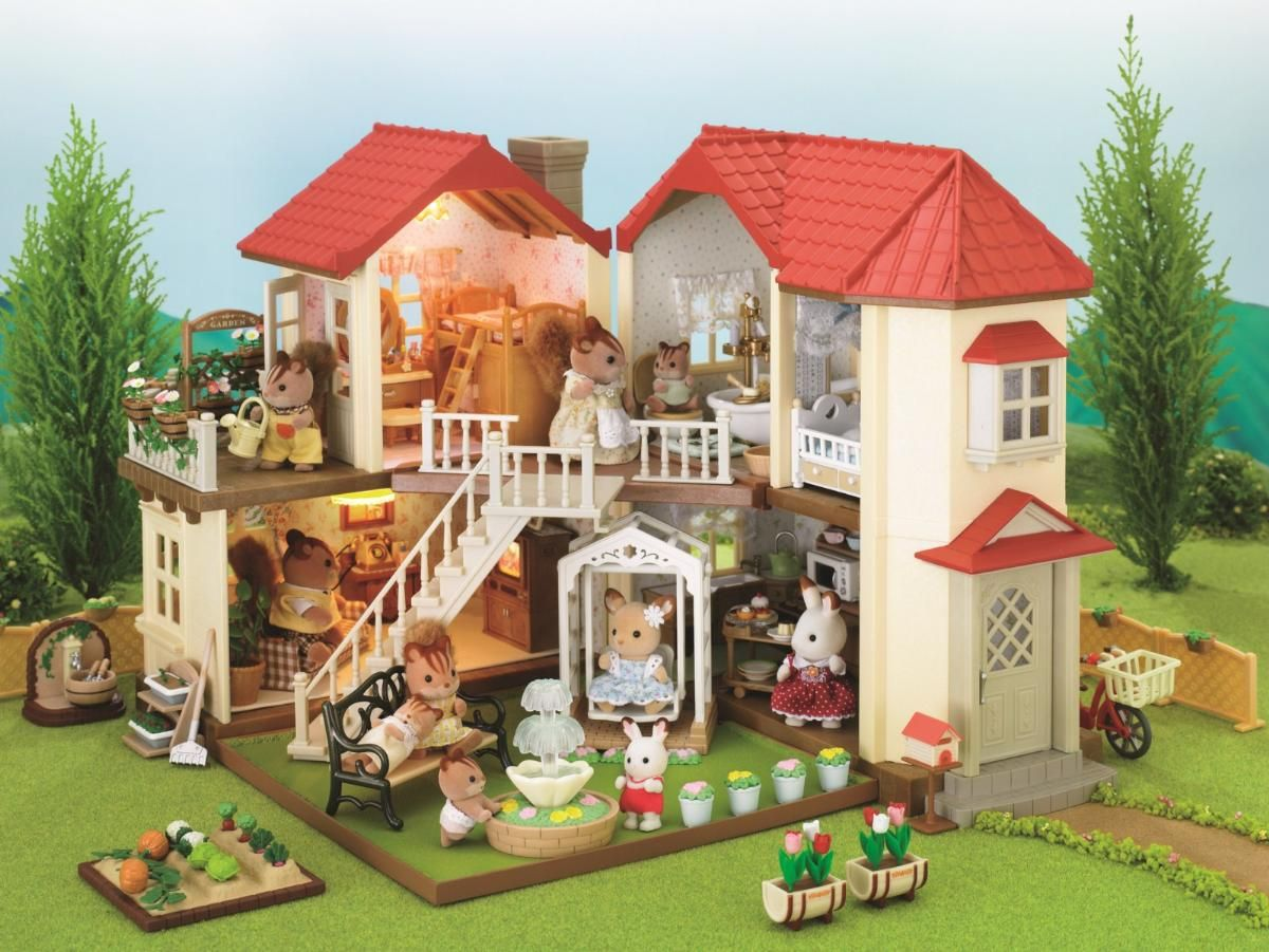 sylvanian families city house with lights walnut. Black Bedroom Furniture Sets. Home Design Ideas