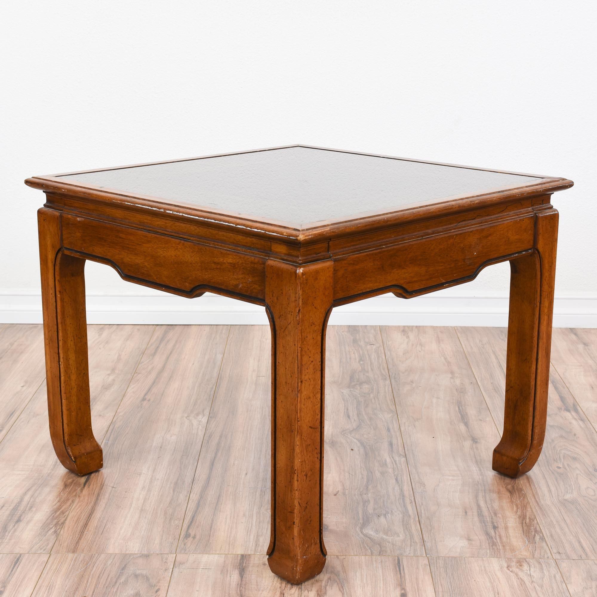 This Asian Inspired End Table Is Featured In A Solid Wood With A Glossy Teak Finish This Tropical Side Table Is In Great Condition With A Sq Glass Top End Tables