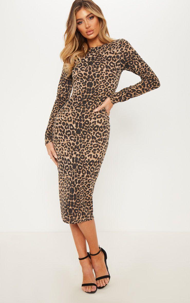 Brown Leopard Print Long Sleeve Midi Dress Leopard Print Bodycon Dress Long Sleeve Print Dress Pink Leopard Print Dress [ 1180 x 740 Pixel ]