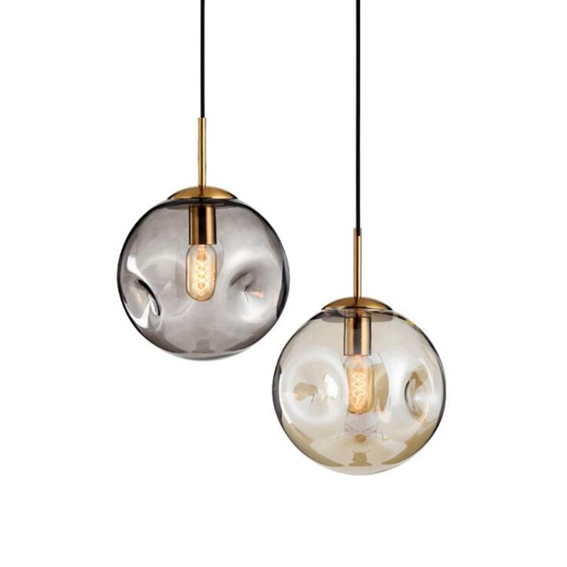 Modern Loft Glass Ball Pendant Light Led E27 Nordic Hanging Lamp With 2 Colors For Living Room Re Glass Ball Pendant Lighting Brass Pendant Light Pendant Light