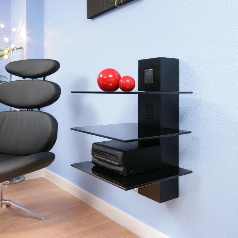Modern Glass Shelves Wall Mounted Home Pratileiras Aparelho De Som
