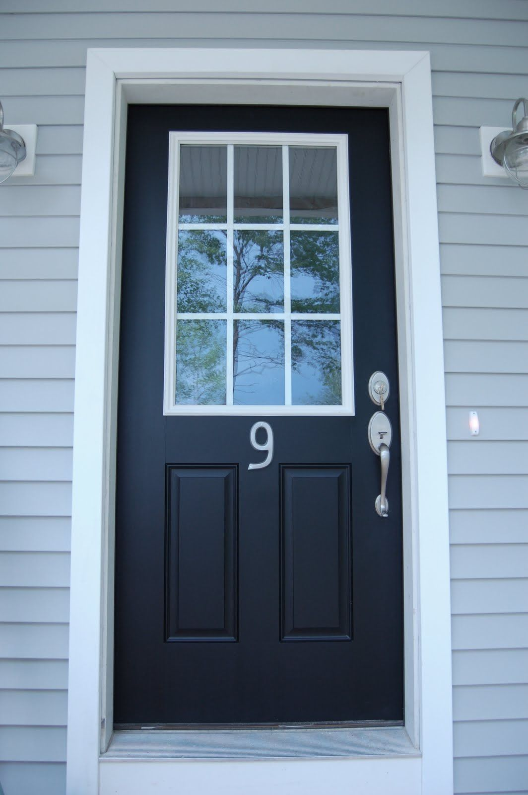 Black Door With White Trim And Glass Front Door Black