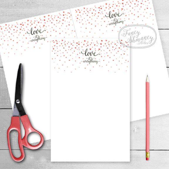 Printable Notepad \/ Instant Download \/ Printable Note Paper \/ Love    Printable  Printable Notepad Paper