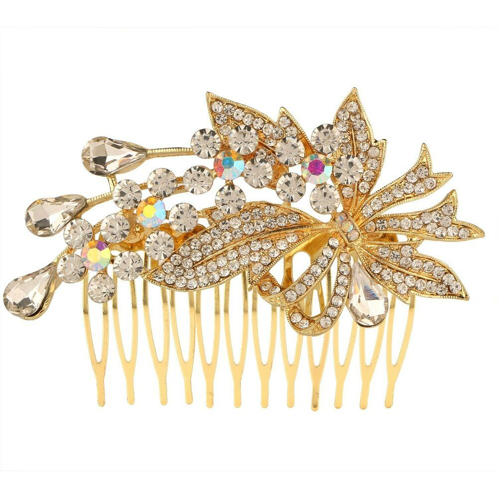 Efulgenz Indian Bollywood Traditional White Crystal 14 K Gold Plated Floral Pearl Style Hair Pin Accessory