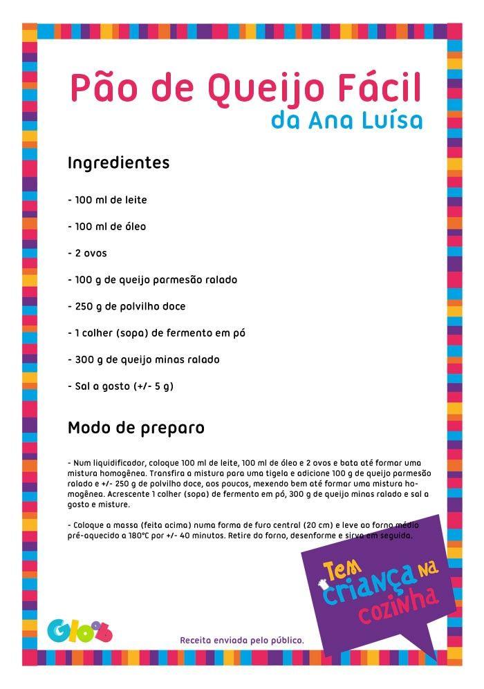 Pão de Queijo Fácil da Ana Luísa | Receitas para crianças ...