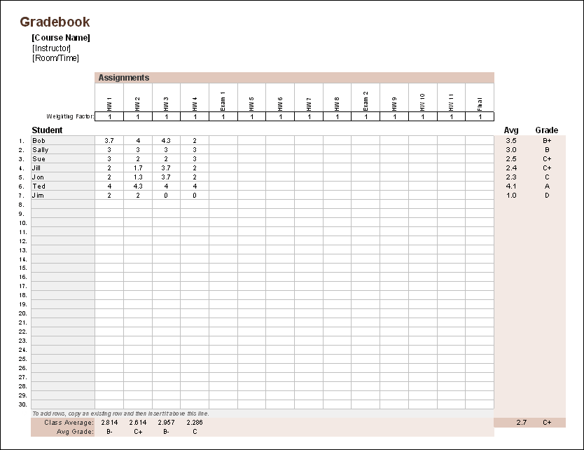 free time study template excel download