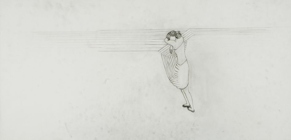 hanging 2008. graphite on tracing paper 99 x 51,5 cm. (working title; figure leaning towards lines which form an angle as well a floor) private collection Marlies Appel