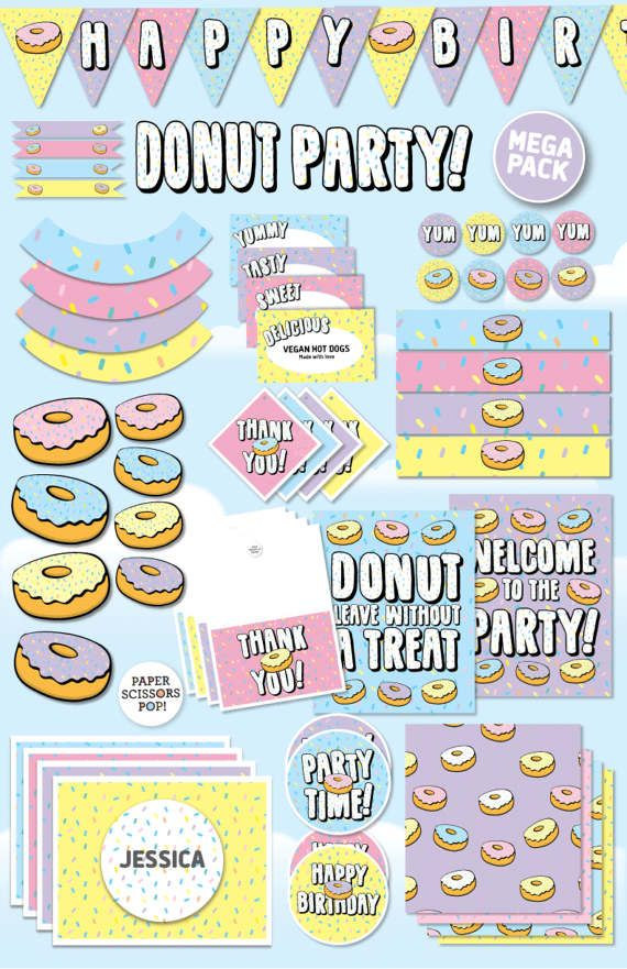 Donut Party Printable Set Doughnut Photo Props Birthday Pack Decor Bundle Mega