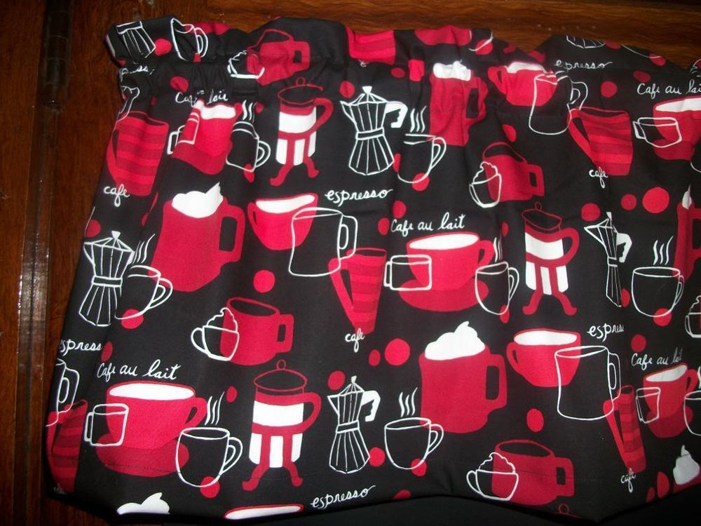 Red Black Tossed Coffee Cups Pot Kitchen Fabric Curtain Valance