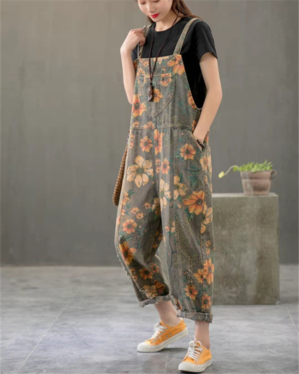 Vintage Print Floral Straps Side Pockets Loose Pockets Jumpsuits in 2020 | Casual outfits, Jumpsuit outfit, Jumpsuits for women