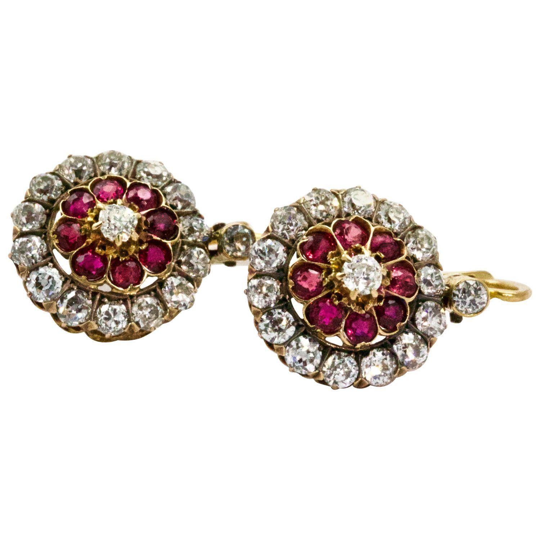 ec0bd4eba 18 Karat Yellow Gold Victorian Ruby Diamond Flower Cluster Dangle Earrings