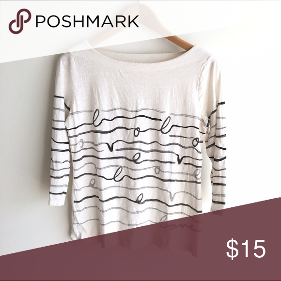 """LOFT Cream """"Love"""" Scribble Graphic Boat Neck Tee 3/4 length sleeve knit tee with love cursive and scribble graphic all the way around. Wide boat neck. EUC LOFT Tops Tees - Long Sleeve"""