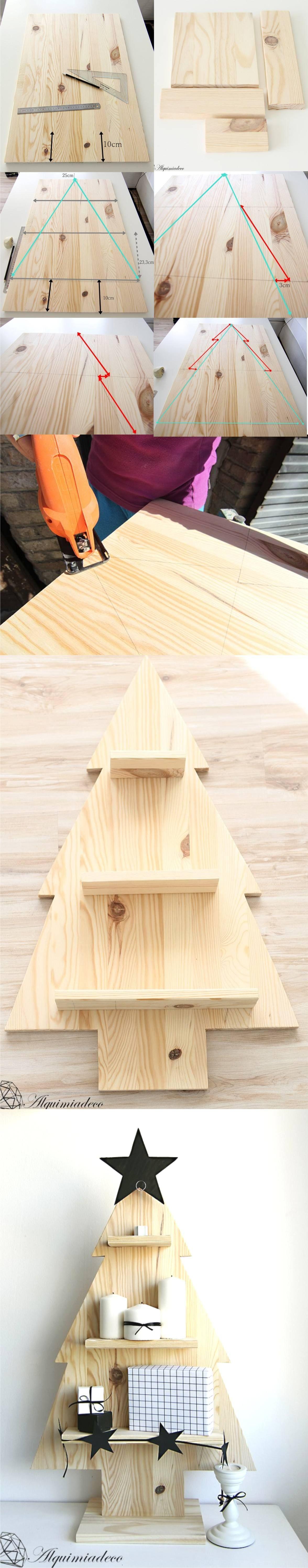 Árbol de Navidad con tablas de madera Navidad Xmas and DIY Christmas