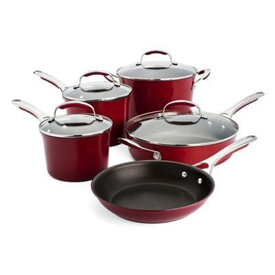 KitchenAid - Gourmet 5 Piece Non Stick Red Porcelain Enamelled ... on kitchenaid bbq grill set, rachael ray red cookware set, club cookware set, best nonstick cookware set, copper with stainless steel cookware set, kitchenaid cooking set, cooks stainless steel cookware set, kitchenaid canister set, kitchenaid skillet set, kitchenaid cookware sets walmart, kitchenaid cutlery set, t-fal professional cookware set, kitchenaid pan set,