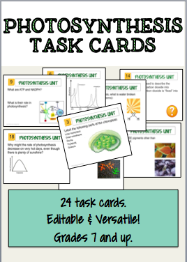 24 Task Cards Dedicated To Photosynthesis Makes A Great Review Or