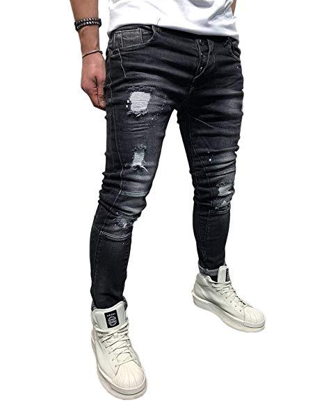 Bmeig Jean Dechire Homme Stretch Denim Pants En Dechire Slim Fit