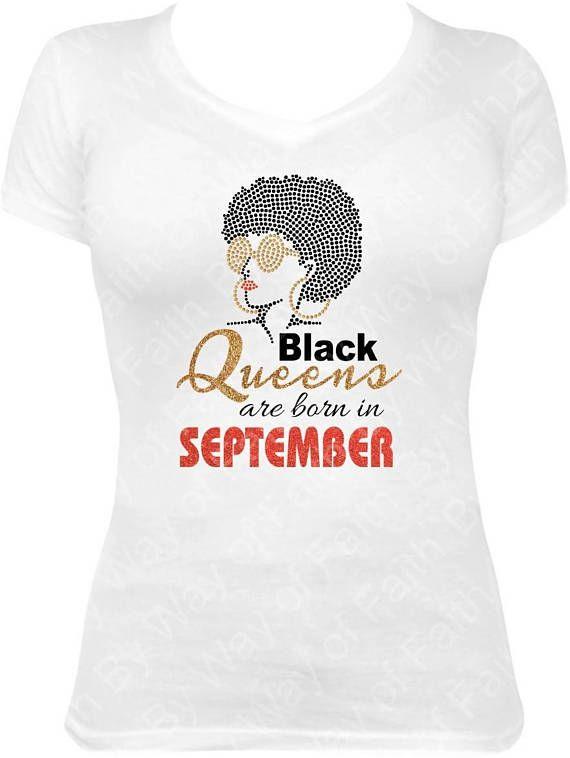 Black Queens Born In September Bling Rhinestone Glitter Tee