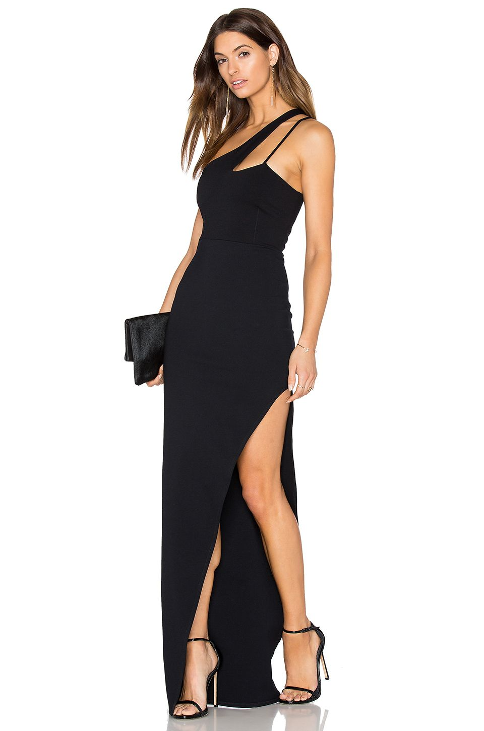 Donna Mizani X Front High Slit Gown in Black | REVOLVE | Pinterest ...
