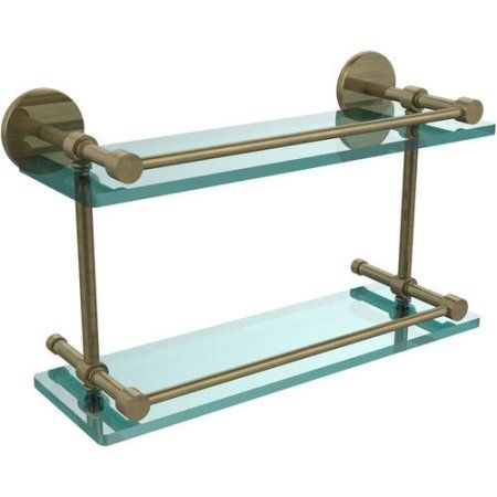 16 inch Tempered Double Glass Shelf with Gallery Rail (Build to