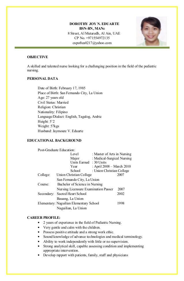 There are many templates that you can use with your resume But - medical surgical nursing resume