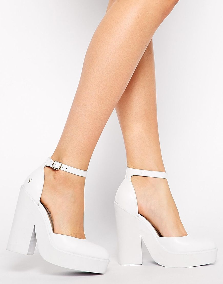 Windsor Smith Pow White Leather Ankle Strap Heeled Shoes | Window ...