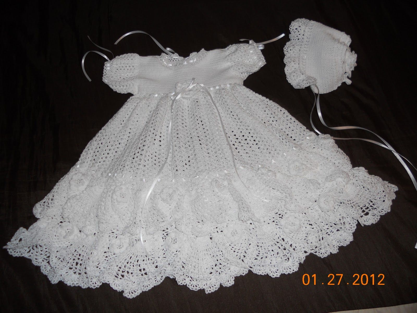 Crochet Patterns Baptism Gown For Girls Finished The Christening