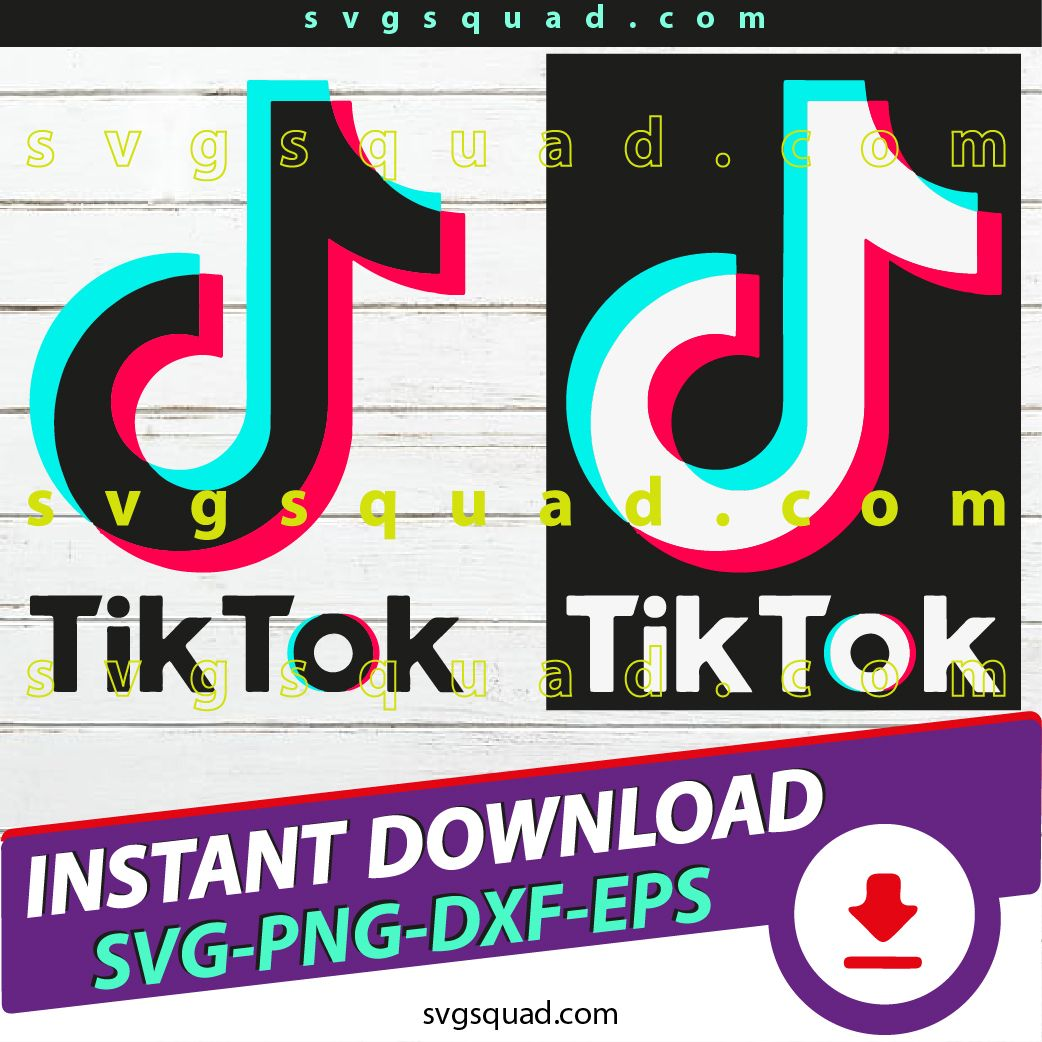 Tiktok Svg Dxf Png Eps Silhouette And Cricut Files Tik Tok Digital Logo Birthday Print Design In 2020 Iron On Logos Print Design Cricut