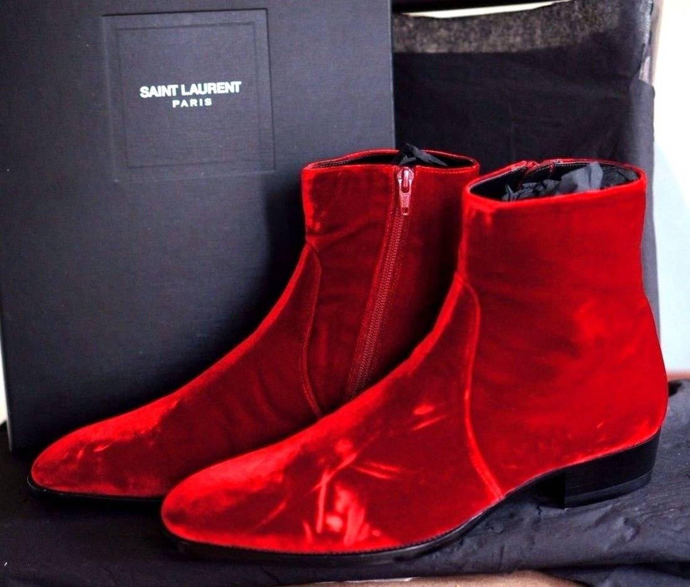 81bf464df0d Saint Laurent Paris FW16 - Saint Laurent Paris - Hedi Slimane Devon Wyatt  Red Velvet Boots Size 44 - NEW Size US 11 / EU 44