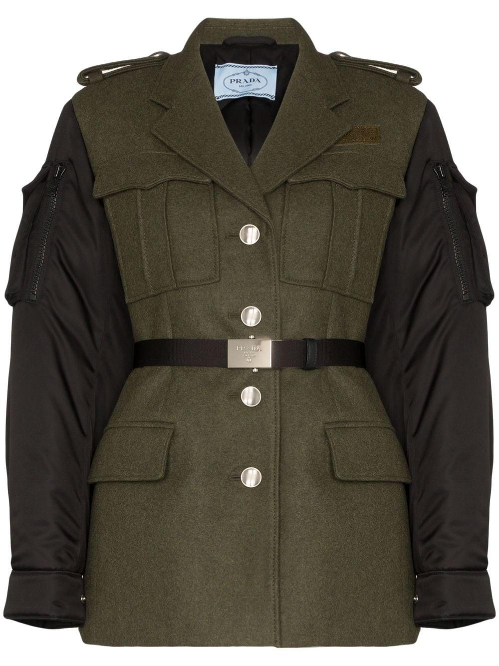 Prada Contrast Sleeve Belted Coat Farfetch Military Jacket Jackets Military Jacket Green [ 1334 x 1000 Pixel ]