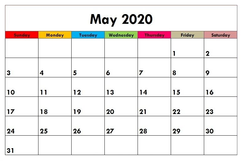 Cute May 2020 Calendar Schedule A Reminder For You Free