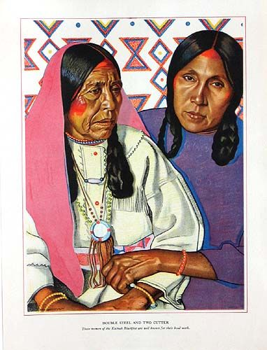 Original 1940 Prints: Blackfeet Indians of Glacier National Park by Winold Reiss For Sale kp