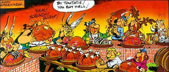 The Boar Feasts At The End Of Asterix Comic Books Asterix Et Obelix Graphisme
