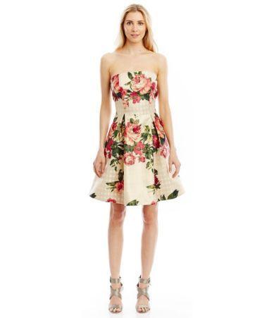 Nicole Miller New York Floral Printed Jacquard Strapless Dress ...