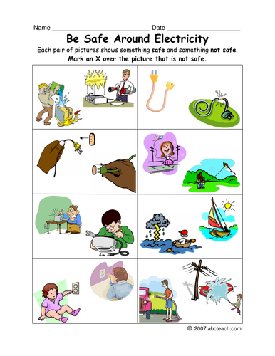 Worksheet Electric Safety (primary/elem) Teaching