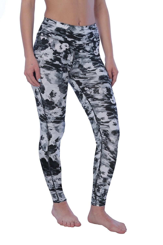 Printed Women s Full-Length Yoga Workout Leggings - Black Floral -  C3185MU02UE 36f79e13b23fd
