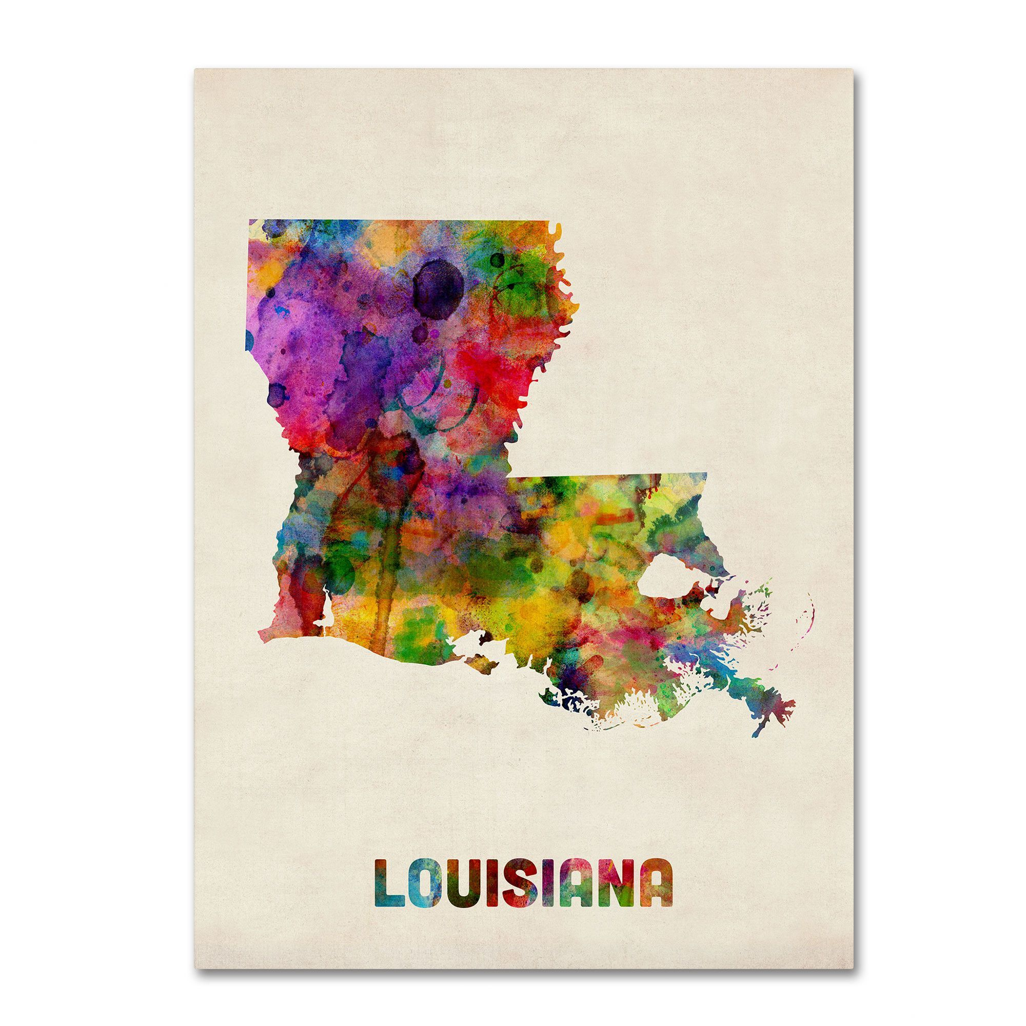 Louisiana Map by Michael Tompsett Graphic Art on Canvas