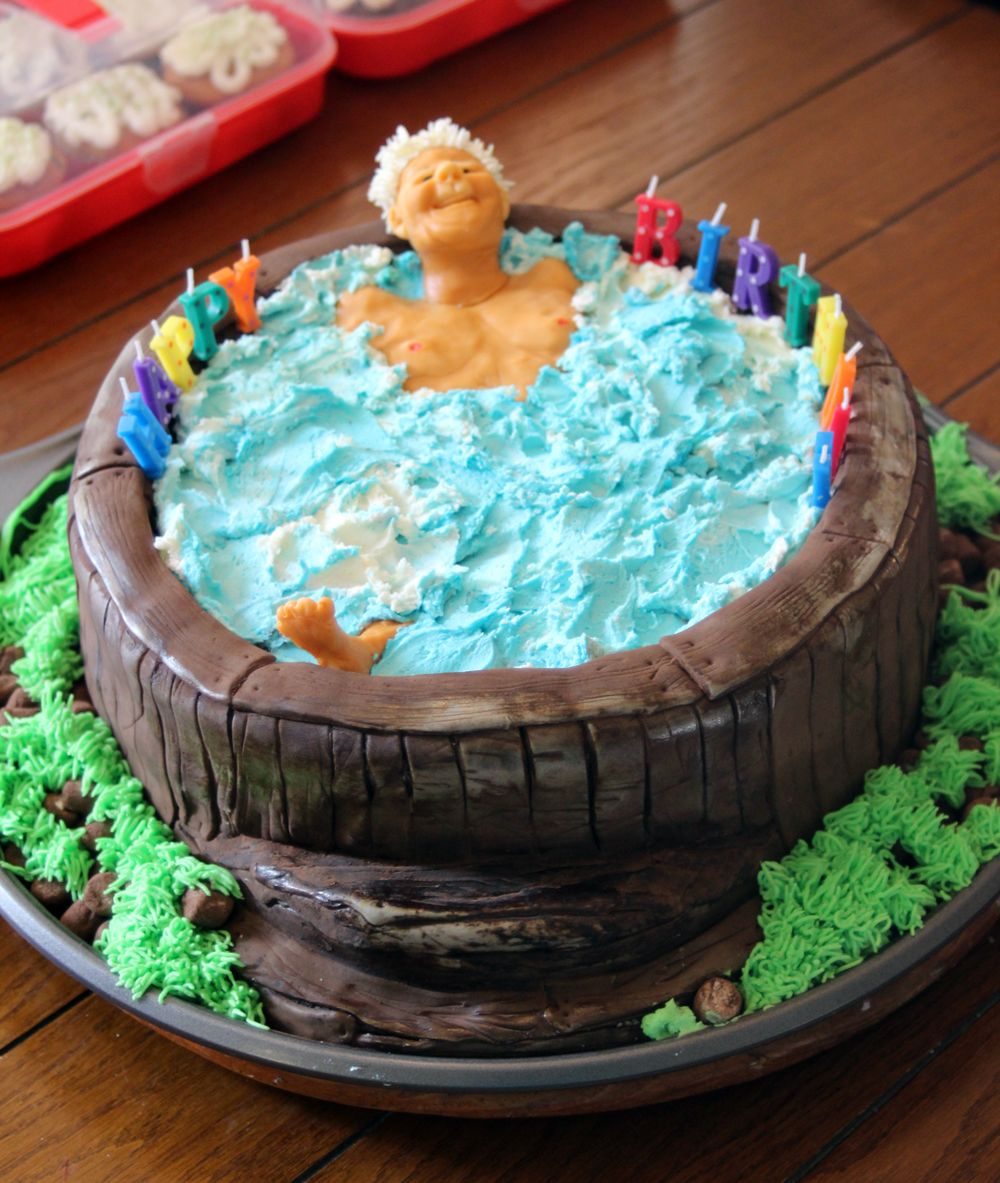 My Latest For A 70th Birthday Cake Hot Tub And You Can Eat Everything Except The Candles