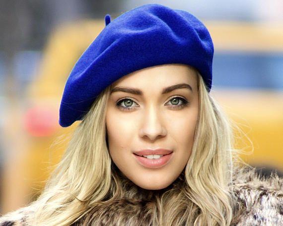 1828aca0b8d0b Cobalt Blue Winter Hat Beret Hat French Wool Beret Women's Gift 1940s  Fashion Slouchy Hat Wool Hat B