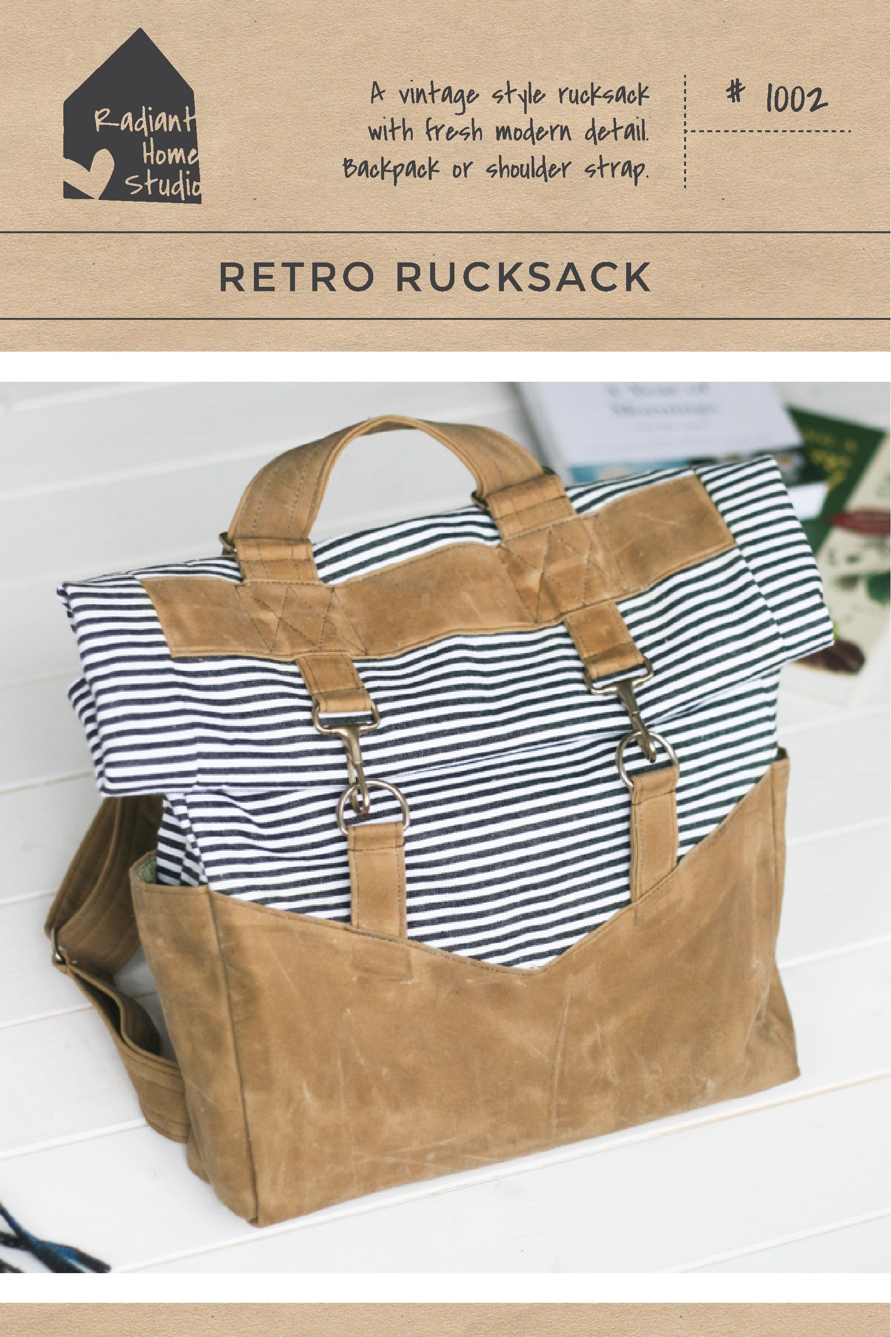 Retro rucksack pattern patterns sewing projects and tutorials the retro rucksack sewing pattern by radiant home studio is a vintage style rucksack with adjustable straps that can be worn as a backpack or shoulder bag jeuxipadfo Choice Image