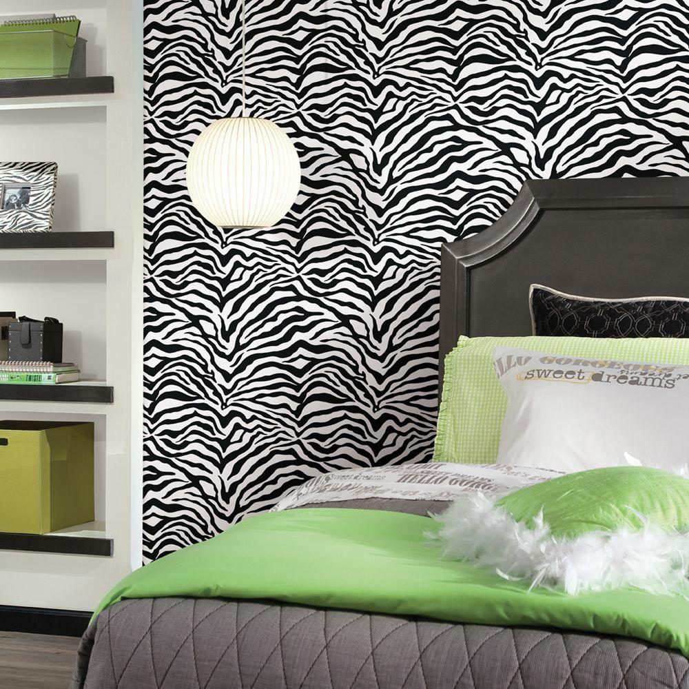 Wall In A Box Zebra Feature Wall, Black