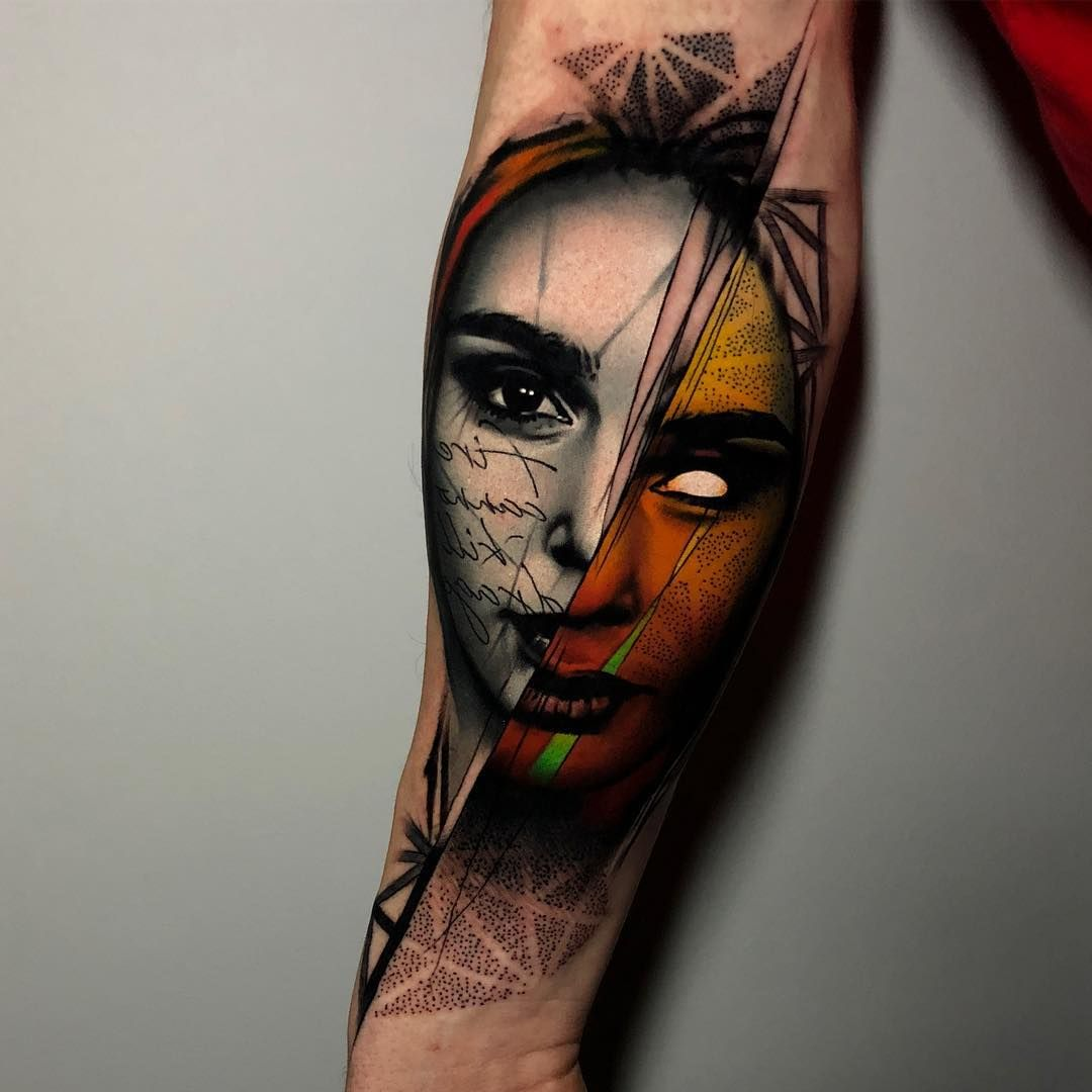 Abstract portrait tattoo by rich harris tattoos